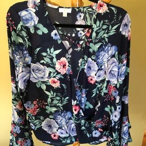 Navy blue top with flowers